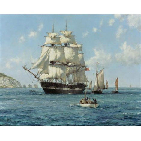 the arrival, the thetis by montague dawson