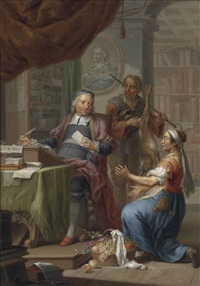 a court secretary at his desk with two sutlers by franz christoph janneck