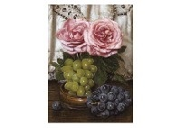 still life of rose and grapes by masahiko yamanaka