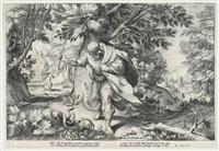 kampf gegen die schlangen, blatt 8 (from ovids metamorphosen, after hendrik goltzius) by robert willemsz. de baudous
