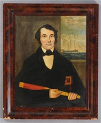 portrait of captain israel dunning and schooner hariet by american school