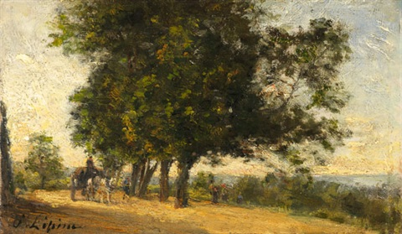 landschaft mit pferdefuhrwerk by stanislas lépine
