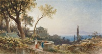 sizilanische küstenlandschaft mit figurenstaffage auf einer terrasse by friedrich wilhelm albert dressler