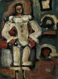 pierrot a la cheminee by georges rouault