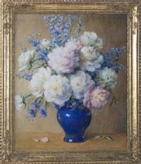still-life with peonies, delphinium and asters in a blue vase by carle john blenner