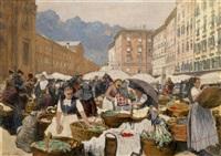 der grünmarkt in salzburg by johann nepomuk geller
