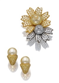 flower brooch and pair of ear clips (set of 2) by sabbadini