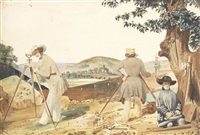 surveyors at work on the french railway by louis-joseph grosset