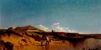 pferde am flussufer in der puszta by johann gualbert raffalt