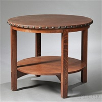 circular lunch table by gustav stickley