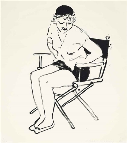 celia in the directors chair by david hockney