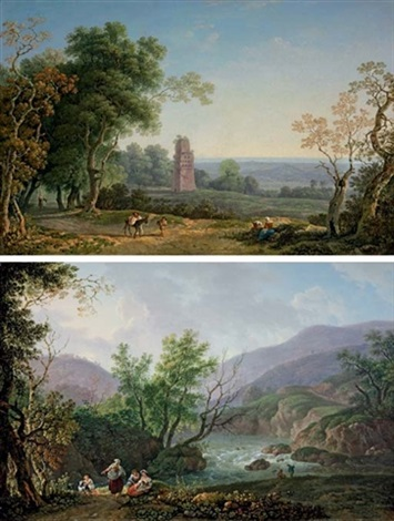 an italianate landscape with peasants on a path an ancient mausoleum beyond another pair by carlo labruzzi