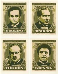 shepard fairey godfather set (the don, sonny, fredo, tom) (set of 4) by shepard fairey