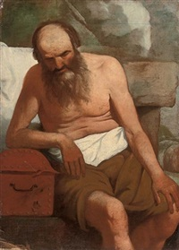 an old man leaning on a casket by georges de latour