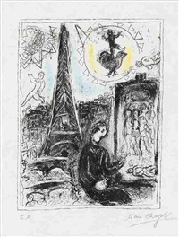 painter at the eiffel tower by marc chagall