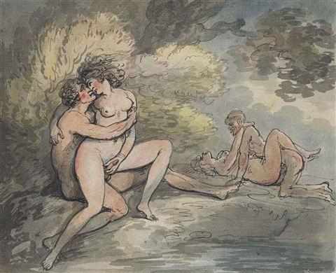 lovers in a wooded landscape by thomas rowlandson