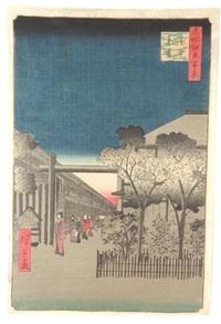 série des 100 vues d'edo, dans la nuit mystérieuse du yoshiwara by ando hiroshige