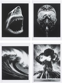 untitled (shark 5); untitled (ulysses); spanish blood (lion's gate); and russian bomb (semipalatinsk) (set of 4) by robert longo