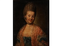 portrait of a lady of austrian/german line wearing a lace head scarf and a shawl, a white dress with décolleté neck line and blue bow by johann joseph zoffany