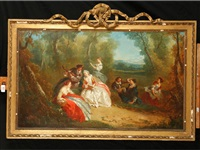 fêtes galantes, showing lovers making merry in a garden landscape (pair) by jean honoré fragonard