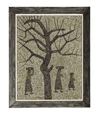 tree and three figures by park soo-keun