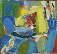composition (abstraction en jaune, rouge et bleu) by chafic abboud
