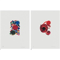 1.blue, red and green circles with small circles, 2.four red circles (2 works) by atsuko tanaka
