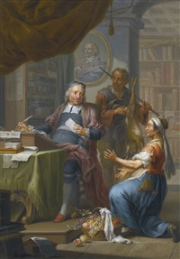 an agent collecting taxes from a hunter and a farmer's wife by franz christoph janneck