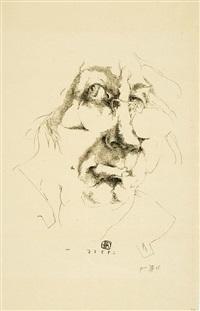 2. versuch auf stein - ohnsorg - selbstportrait by horst janssen
