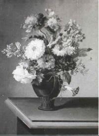 a pair of flower still lifes by johann samuel arnhold