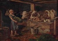 bauernmädchen mit heukorb im kuhstall by richard aigner