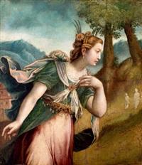 vrouw in landschap, mogelijk abigael by paolo farinati