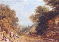 village scene, devonshire by edmund dorrell