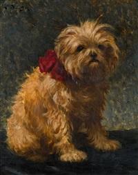 hund mit rotem halsband by ludwig deutsch