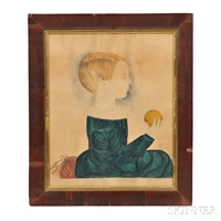 profile portrait of a boy holding an orange by mary b. tucker
