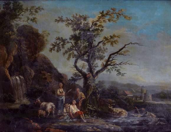 pâtre et sa famille au milieu de ses chèvres près dune cascade by jean baptiste charles claudot