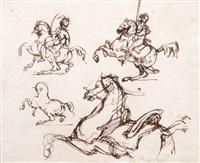 étude d'un officier de chasseur à cheval, d'un cuirassier à cheval, d'un cheval cabré et d'un cheval de mameluck se cabrant (study) by théodore géricault