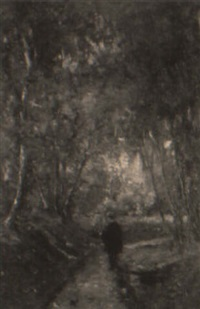 the artist at his easel on a woodland trail by otto stark