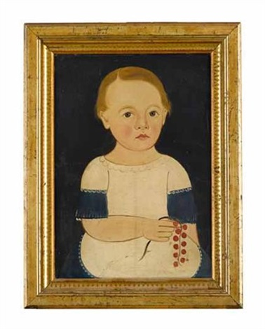 portrait of a boy holding a cherry branch by american school prior hamblen 19