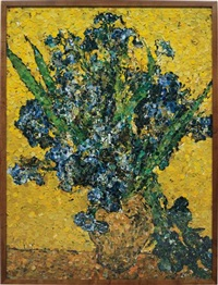 irises, after van gogh (from pictures of magazines) by vik muniz