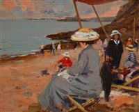 dinard, sur la plage l'enfant à la veste rouge by paul emile lecomte