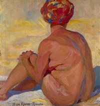 nude wearing a head scarf by anna kruger-prakhova