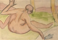 a nude fishing by lorser feitelson