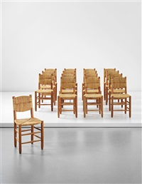 dining chairs, model no. 19 (from l'équipement de la maison series, designed, produced 1959) (set of 16) by charlotte perriand