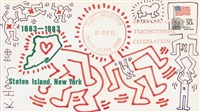 envelope with figures by keith haring