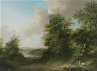 weite landschaft mit figuren by johann-heinrich wüst