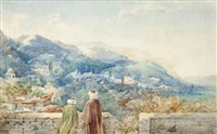figures on a walled terrace overlooking a turkish hill-side town by continental school (19)