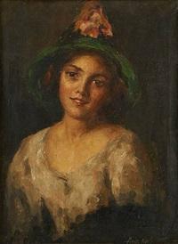 portrait de jeune femme au chapeau fleuri by rinaldo agazzi