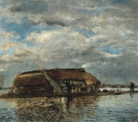 chaumière au milieu des marais by charles edmond theodore milcendeau