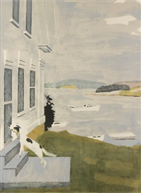dog at the door (from ten lithographs by ten artists) by fairfield porter